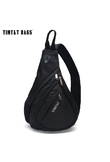 TINYAT Men Bag Men Shoulder Sling Bag pack USB Waterproof Messenger Crossbody Bag Black Travel women chest bag for ipad T509