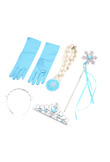 4Pcs/set for Frozen Princess Elsa Anna Hair Accessories Crown Wig + Magic Wand Glove Cosplay for Kids Dress up Party Girl Gifts