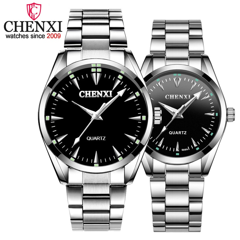 """""""CHENXI Brand Fashion Luxury Quartz Lover Couple Watch Classic Simple Silver Stainless Steel Men and Women Watches Orologi Coppia"""""""