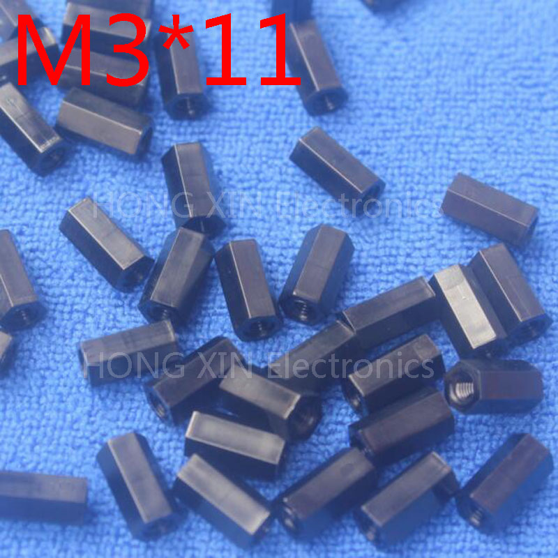 M3*11 black 1 pcs Nylon 11mm Hex Female-Female Standoff Spacer Threaded Hexagonal Spacer Plastic Standoff Spacer high-quality