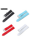 SANWOOD New 8 Color Unisex Fashion Casual Watch Accessories Watch Bracelet Belt Soft Leather Watchband Watch Strap 14 16 18 20mm