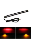 Flexible Motorcycle Brake Lights Turn Signal Led Light Strip Moto License Plate Light Flashing Tail Stop Strip Light Red/Amber
