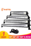 "Partol 22"" 34"" 42"" 50"" Straight Curved Tri-Row LED Light Bar Combo Beam Offroad Work Light 4WD 4x4 LED Bar Camper Trailer ATV"