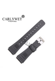 CARLYWET 20mm Men Lady Black Replacement Silicone Rubber Straight End watch band Strap Loop With Silver Polished Pin Buckle