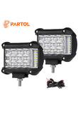 "Partol 4"" 57W Work Light Tri-Row LED Light Bar Spot Flood Combo Beam Offroad 4WD 4x4 LED Bar for Pickup Camper Trailer 12V 24V"