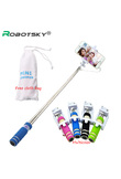 Mini Selfie Stick With Button Wired Sponge Handle Monopod Universal For iPhone 6 5 Android Samsung Huawei Xiaomi with Cloth Bag