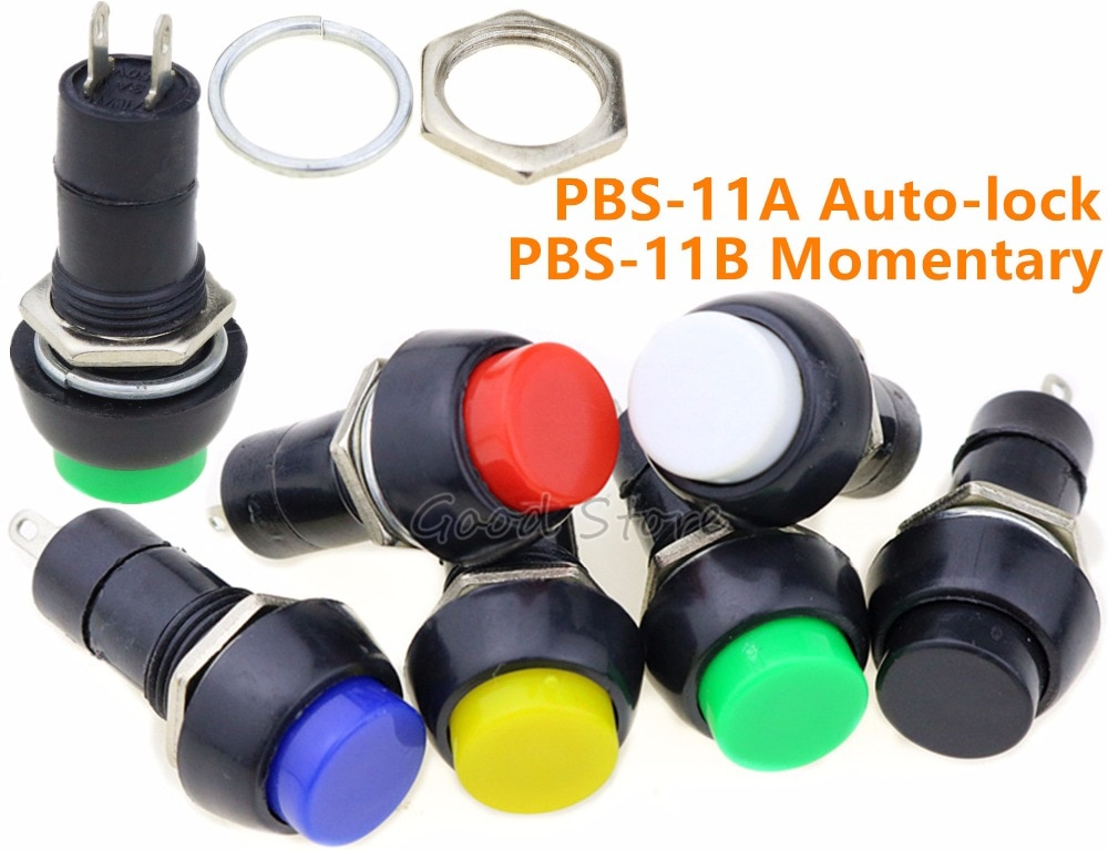 1pcs PBS-11A PBS-11B Push Self-locking momentary Button Switch Green/Red Colors Electric Switch for DIY Model Making