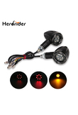 Herorider Scooter Motorcycle Turn Signal Indicators Stop Light Black For Harley Motorbike Motorcycle Rear Turn Signal Led