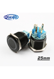 25mm Alumina metal push button switch led ring round momentary 6 pin car switches 12V 24V Yellow Blue