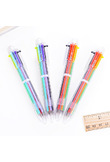 New Arrival 1pcs Novelty Multicolor Ballpoint Pen Multifunction 6 In1 Colorful Stationery Creative Cute School Supplies