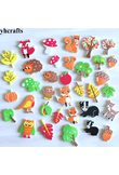 30PCS/LOT.Autumn Harvest squirrel bird fox hedgehog owl foam stickers Autumn leaf crafts Activity items Kids room ornament OEM