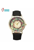 Hot 2018 Pastorale Floral Leather Band Analog Quartz Dial Watches Women Gift Wrist Watches Bangle Bracelet Relojes 80710