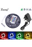 RGB LED Strip 12 v flexible Light 2835 5M Waterproof ledstrip neon Tape Rope with IR Remote Control DC12V Power Adapter full set