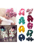 Baby Boys Girl Toddler Kids Big Bowknow Pleuche Elastic Headband Hair Band Headwear Toddler Girls Princess Velvet Head Bands