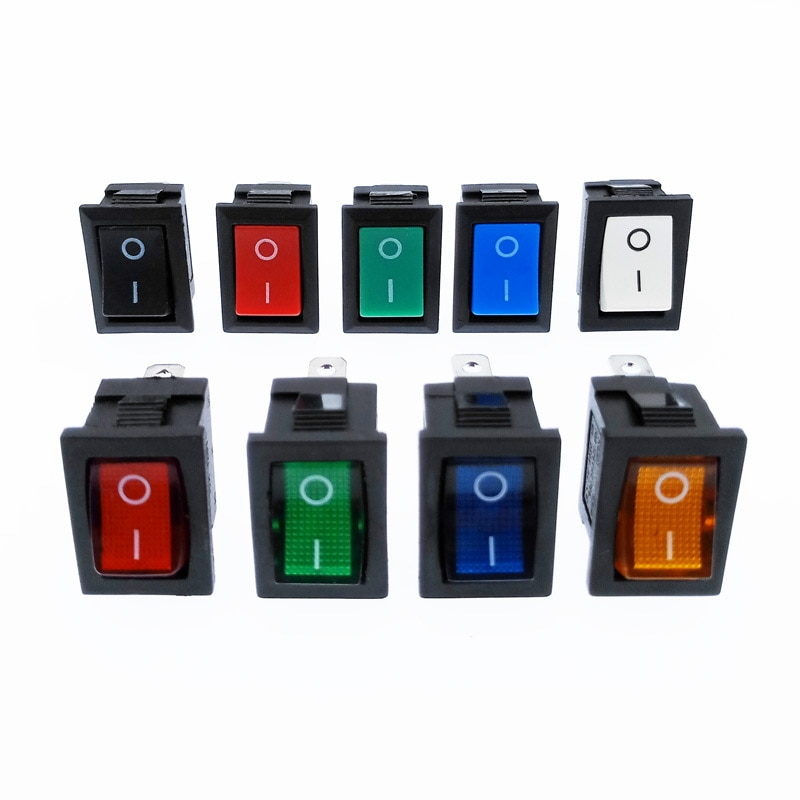 KCD1 Rocker Switch Power Switch 2 Position 2Pins 3Pins 4Pins With Light 10A 250V Red Blue Green Yellow Black White