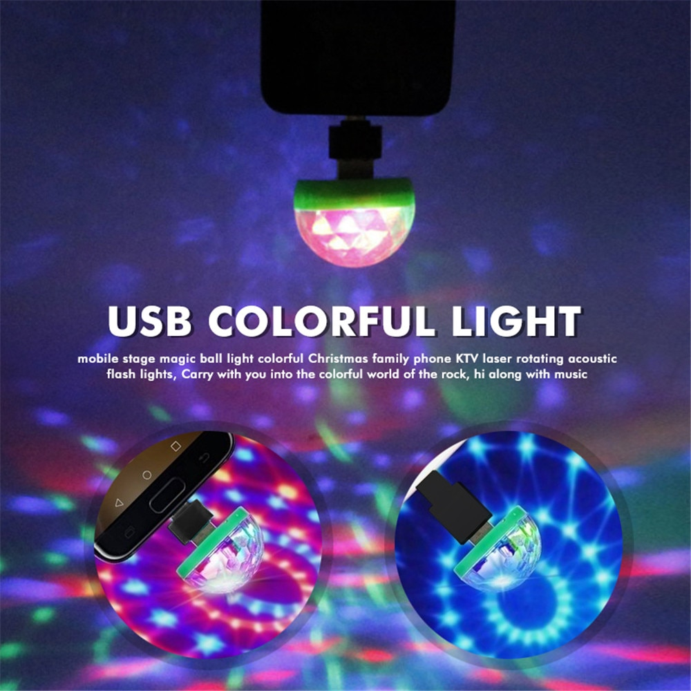 Portable Mini USB Disco DJ Party LED Lights RGBW Crystal Magic Ball Effect Stage Lamp Voice Music Control Cell Phone USB Lights