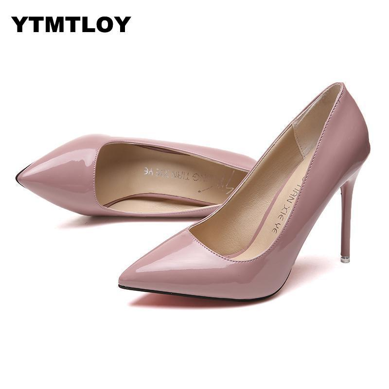 Plus Size 34-44 HOT Women Shoes Pointed Toe Pumps Patent Leather Dress High Heels Boat Shoes Wedding Shoes Zapatos Mujer
