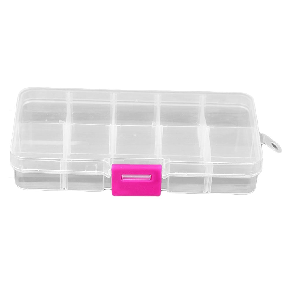 """10 Grids Plastic Storage Box for Small Component Jewelry Tool Box Bead Pills Organizer Nail Art Tip Case"""