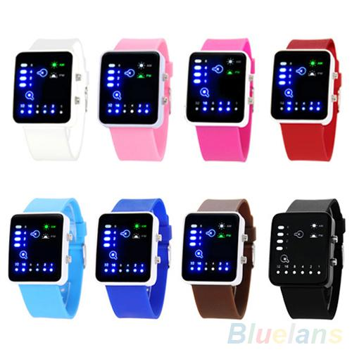 """""""Casual Men Binary System LED Square Dial Silicone Band Quartz Wrist Watch orologio donna horloges vrouwen Fashion women watch"""""""