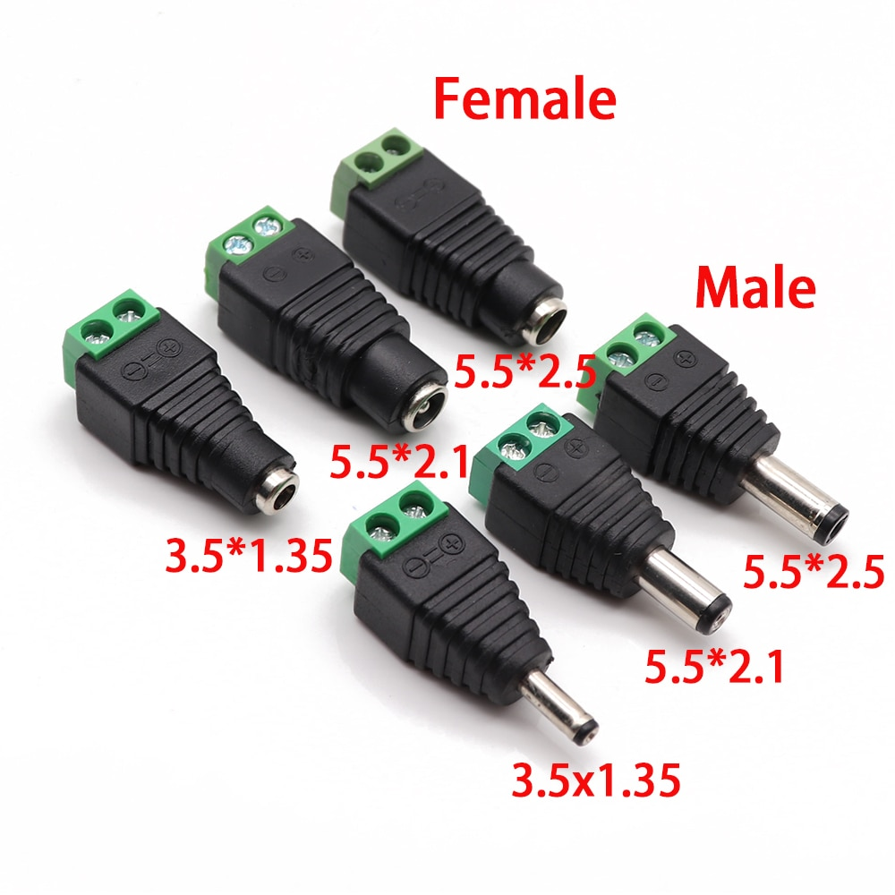 Male Female DC Power Plug Connector 2.1mm x 5.5mm 2.5mm x 5.5mm 1.35mm x 3.5mm Needn't Welding DC Plug Adapter 12V 24V For CCTV