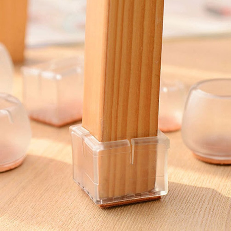 1pc Table Chair Leg Foot Covers Floor Transparent Silicone Cap Pad Furniture Table Feet Cover Floor Protector Non-Slip Cup TXTB1