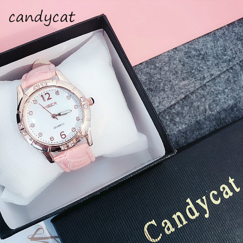 """""""CandyCat Watch Students Korean Version of The Simple Cute Junior High School Hipster Leisure Atmosphere Small Womens Watch"""""""