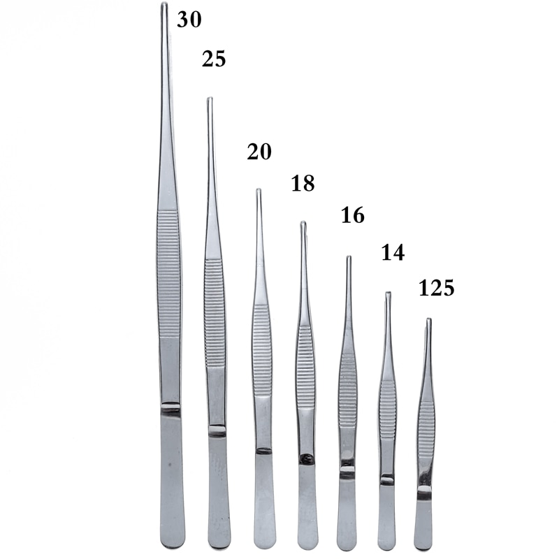 """""""High Quality Tweezers Stainless Steel 304 Anti-iodine Precision Long Straight Forceps 12.5cm-30cm Straight Head Elbow Thicken"""""""