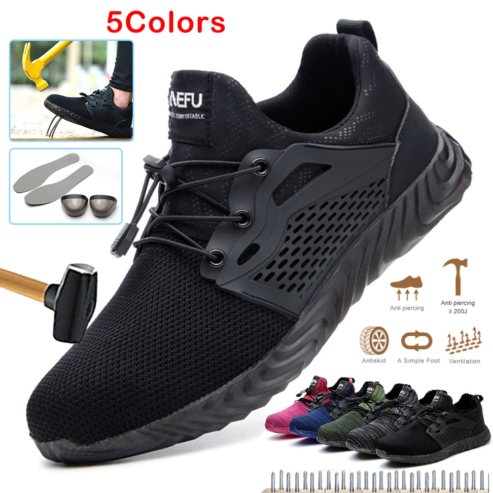 Lightweight breathable men safety shoes steel toe work shoes for men anti-smashing construction sneakers with reflective