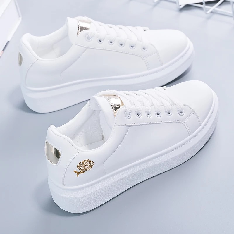 2020 New Spring Tenis Feminino Lace-up White Shoes Woman PU Leather Solid Color Female Shoes Casual Women Shoes Sneakers