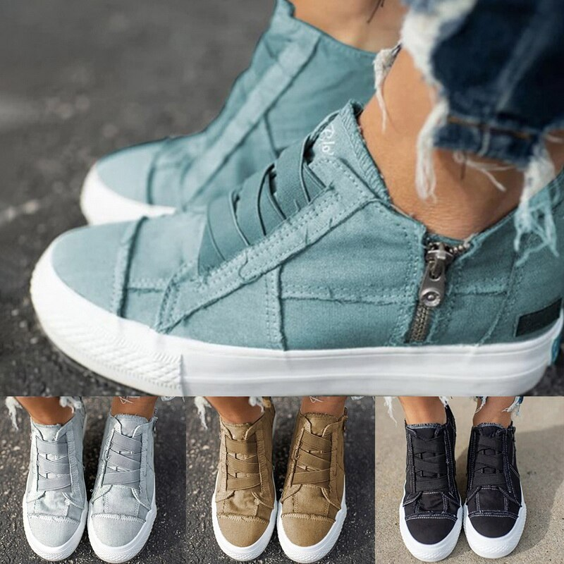 Summer Women's Vulcanized Shoes Sneakers Fashion Canvas Women Casual Shoes Comfortable Breathable Flats Shoes 35-43