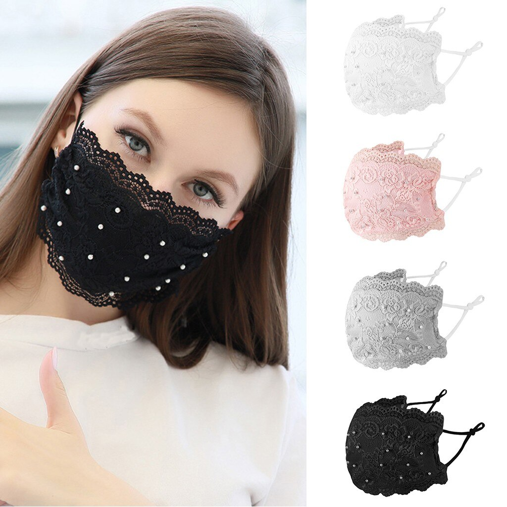 Women Pearl Lace Reusable Breathable Scarf Safe Máscara facial Washable Black Máscara facial Girls Accessories 2020 Hot Sales