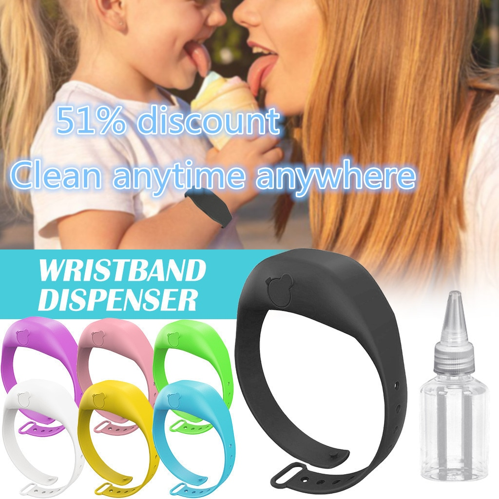Wristband Hand Dispenser Hand Sanitizer Disinfectant Sub-packing Silicone Bracelet Wearable Hand Sanitizer Dispenser Pumps New