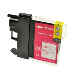 CARTUCCIA LC980 LC1100 MAGENTA COMPATIBILE PER BROTHER  LC 61 LC 980  LC 1100 ALTA CAPACITA 12ML