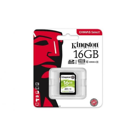 SCHEDA SDHC 16GB SDS/16GB UHS-I KINGSTON CANVAS SELCET 80MB/s in lettura e 10MB/s in scrittura - CLASSE 10