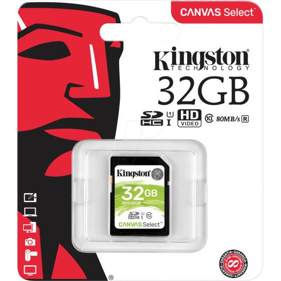SCHEDA SDHC 32GB SDS/32GB UHS-I KINGSTON CANVAS SELCET 80MB/s in lettura e 10MB/s in scrittura - CLASSE 10
