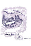 Sticker Notre dame - 25 x 25 cm di Domestic - Viola - Carta
