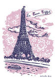 Sticker La Tour Eiffel - 25 x 35 cm di Domestic - Rosa - Carta
