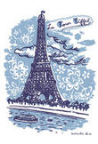 Sticker La Tour Eiffel - 25 x 35 cm di Domestic - Blu - Carta