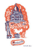 Sticker Montmartre - 25 x 35 cm di Domestic - Arancione - Carta