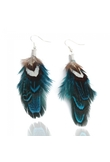 Charming Blue Goose Feather Dangle Earrings