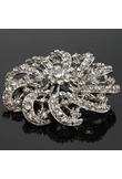 Beautiful Flower Shaped Rhinestone Brooch Silver 003