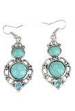 Fashion Turquoise Earrings Green Silver