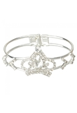 Silver Crown Shaped Bracelet Rhinestone Alloy Bangle