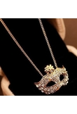 Fox Mask Shape strass clavicola collana del pendente d'oro