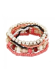 Stile della Boemia Mix and Match Beads Layered Bracciale Rose Red