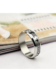 Fashionable Titanium Bible Pattern Men Ring Silver 16mm