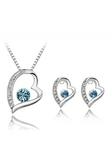 Heart-shaped with Rhinestones Necklace Stud Earrings Set Sea Blue