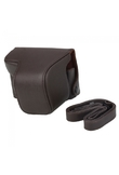 Cross Pattern PU Leather Camera Bag Case for Sony NEX-6 Coffee