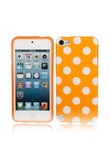 Caso splendida TPU posteriore per iPod Touch 5 Arancione inferiore White Point
