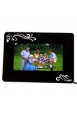 "7 ""fiore decorato rettangolo Digital Photo Frame nero"